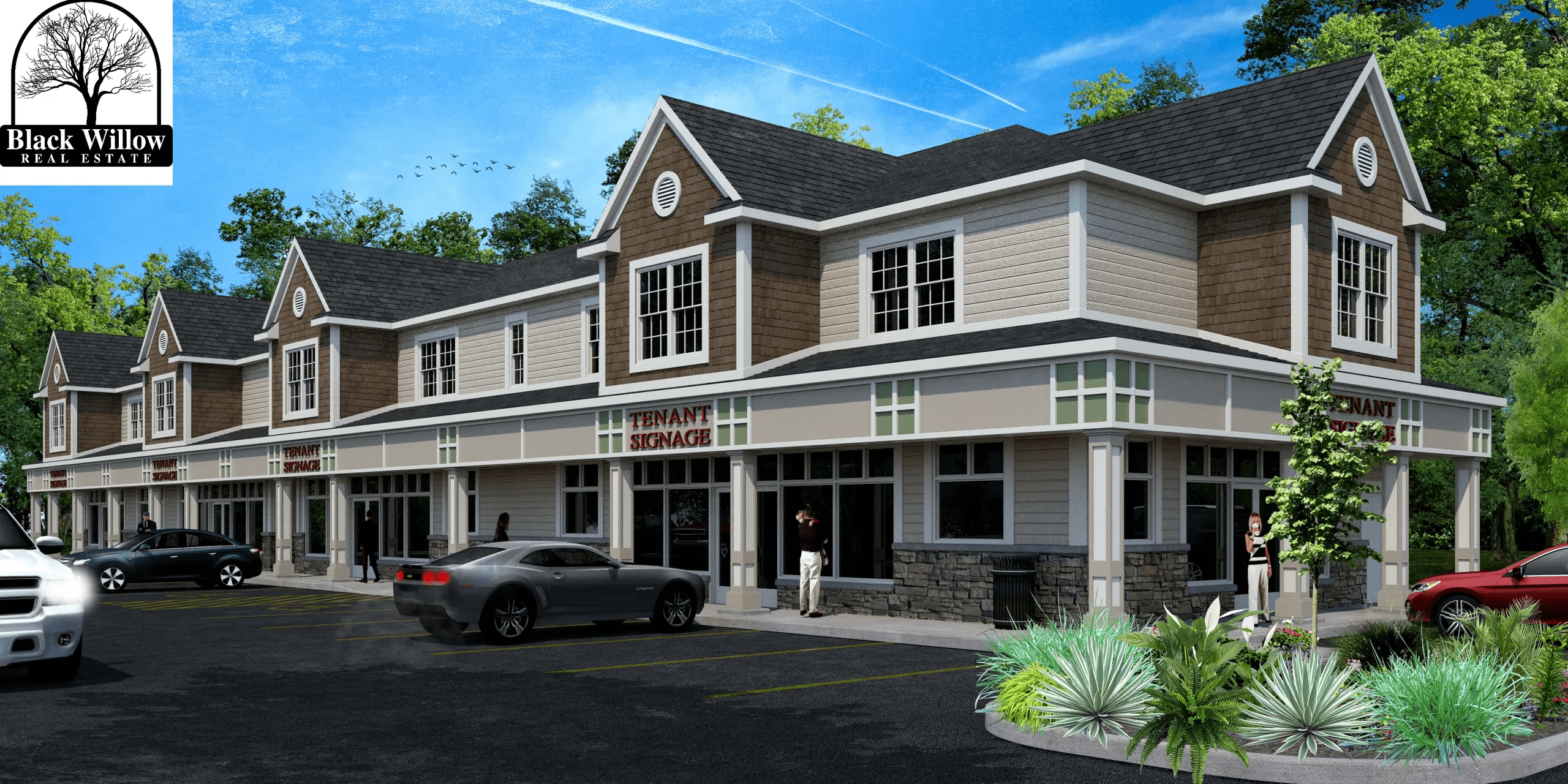 3d rendering of a commercial strip mall